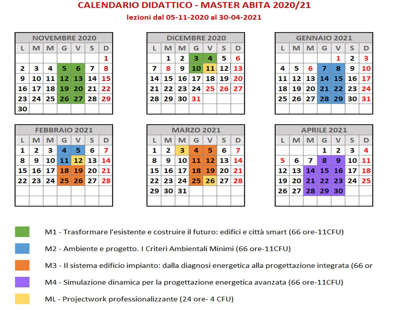 Unifi Calendario 2020 2021 Calendario Master ABITA 2020 2021 | News | ABITA: Centro